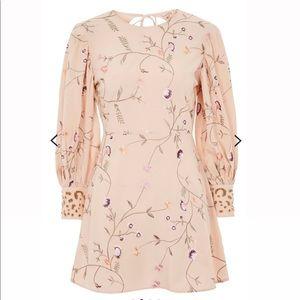 NWT Topshop Pink Boho Floral Long Sleeve Dress